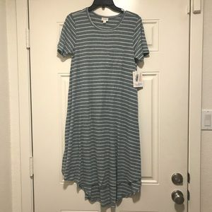 Lularoe Carly - Steel Blue / Whiteish Stripe - XXS